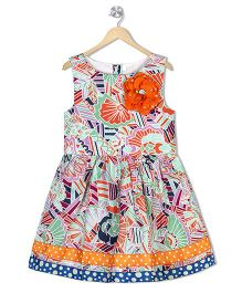 Sorbet Flower Print Party Dress With Bows & Flowers - Multicolour