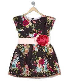 Sorbet Floral Print Dress With Net Border - Brown
