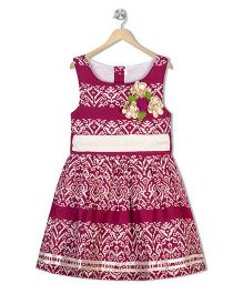 Sorbet Floral Printed Party Dress With Belt - Pink