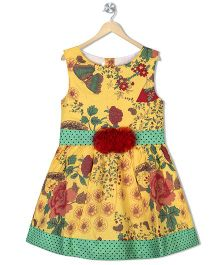 Sorbet Floral Printed Party Dress With Belt - Yellow