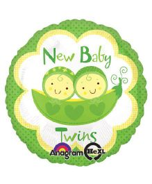 Planet Jashn Peas In A Pod Twins Foil Balloon - White And Green