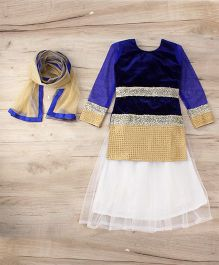 Aarika Embroidered Top With Lehenga & Dupatta Set - Blue & White