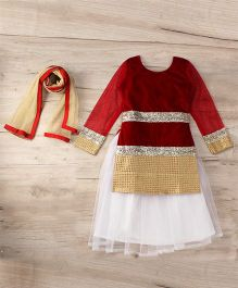 Aarika Embroidered Top With Lehenga & Dupatta Set - Maroon & White
