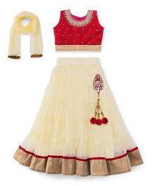 Aarika Embroidered Top With Lehenga & Dupatta Set - Magenta & Butter