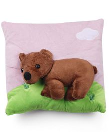 Baby Pillow With Bear Applique - Pink