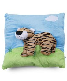 Baby Pillow With Tiger Applique - Blue