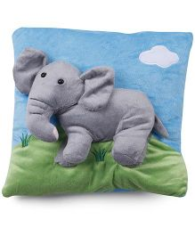 Baby Pillow With Elephant Applique - Blue