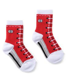 Cute Walk by Babyhug Socks Shoe Lace Design - Red