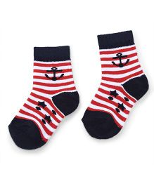 Cute Walk by Babyhug Anti Bacterial Socks Anchor Design - Red Blue