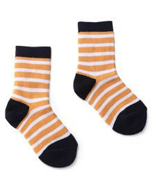 Cute Walk by Babyhug Socks Stripes Design - Orange Black
