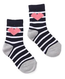 Cute Walk by Babyhug Anti Bacterial Socks Hearts Design - Navy Blue