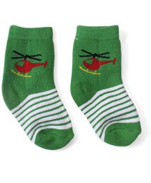Cute Walk by Babyhug Ankle Length Socks Helicopter Design - Green