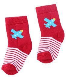 Cute Walk By Babyhug Anti Bacterial Socks Plane Design - Red