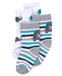 Cute Walk by Babyhug Anti Bacterial Ankle Length Socks Elephant Design Pack Of 2 - White Grey