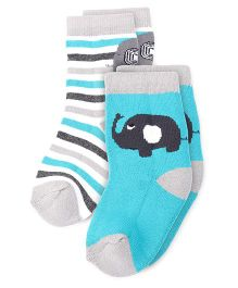 Cute Walk by Babyhug Anti Bacterial Ankle Length Socks Elephant Design Pack Of 2 - Sea Green Grey