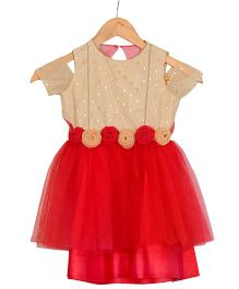 Varsha Showering Trends Off Shoulder Rose Design Flowers Dress - Red & Golden