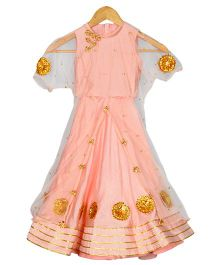 Varsha Showering Trends Gota Patti Embroidered Cape With Crop Top & Lehenga Set - Peach