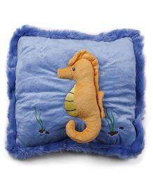 Baby Pillow With Sea Horse Applique - Blue