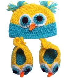 Knits & Knots Owl Cap & Booties - Blue & Yellow