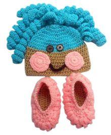 Knits & Knots Laala Loopsy Cap & Booties - Blue Pink & Light Brown
