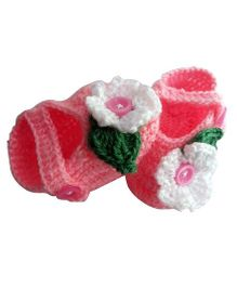 Knits & Knots Flower Booties With Button - Pink & White