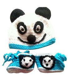 Knits & Knots Panda Booties With Cap - Blue & White