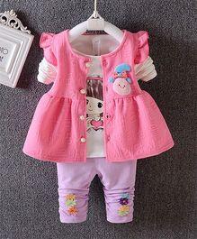 Superfie Cute Girl Printed T-Shirt Jacket & Leggings Set - Hot Pink