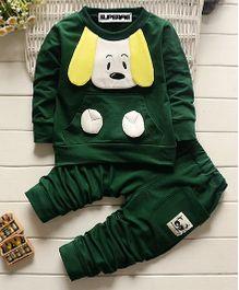 Superfie Dog Sweatshirt 2 Piece Set - Dark Green