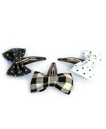 Pigtails & Ponys Layered Bow Clips - Black & White