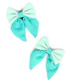 Pigtails & Ponys Felt Sailor Bow Clips - Blue