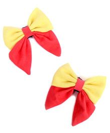 Pigtails & Ponys Butterfly Bow Clips - Pink & Yellow
