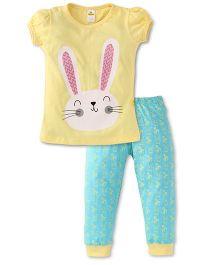 Tiny Bee Bunny Print Girls Tee & Pyjama Set - Yellow & Turquiose