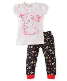 Tiny Bee Girls Tee & Pyjama Set - White & Navy