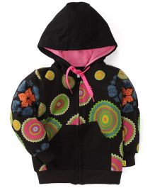 Tiny Bee Printed Hooded Jackets - Black