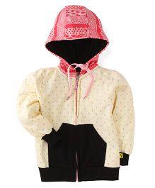Tiny Bee Printed Hooded Jackets - Black & Pink