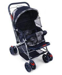 Baby Pram Cum Stroller With Mosquito Net - Blue