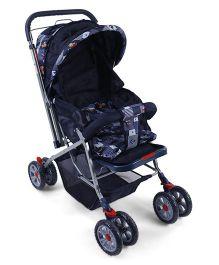 Baby Stroller Cum Pram With Reversible Handle Bear Print - Navy Blue