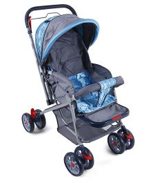 Baby Stroller Cum Pram With Bag Navy Blue And Grey - A-018
