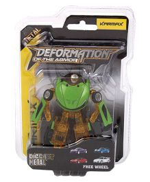 Karmax Deformation Diecast Car Cum Robot - Green Mustard Yellow