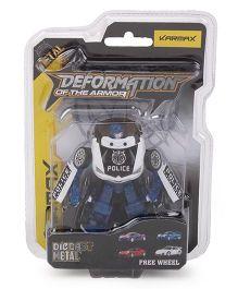 Karmax Deformation Diecast Police Car Cum Robot - Blue White
