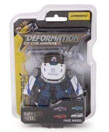 Karmax Deformation Diecast Police Car Cum Robot - White Blue