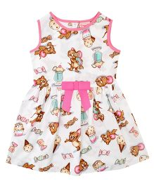 CrayonFlakes Mouse Ice-Cream Print Dress - White