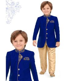 Ethnik's Neu-Ron Kurta Pyjama Set - Blue Gold