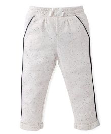 Fox Baby Dot Print Track Pant With Turn-Up Hem - Off White