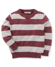 Fox Baby Full Sleeves Striped Pullover Sweaters - Grey & Brown