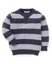 Fox Baby Full Sleeves Striped Pullover Sweaters - Grey & Navy