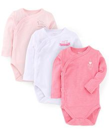 Fox Baby Full Sleeves Onesies Pack Of 3 - White Light Pink Pink
