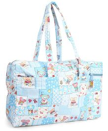 Mee Mee Mama's Bag With Bottle Holder Teddy Print - Blue