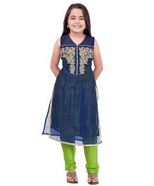Betty By Tiny Kingdom Kurti & Churidar Set - Blue & Green