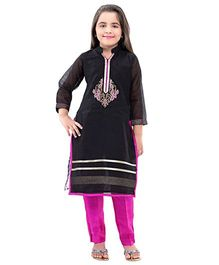 Betty By Tiny Kingdom Kurti & Churidar Set - Black & Hot Pink